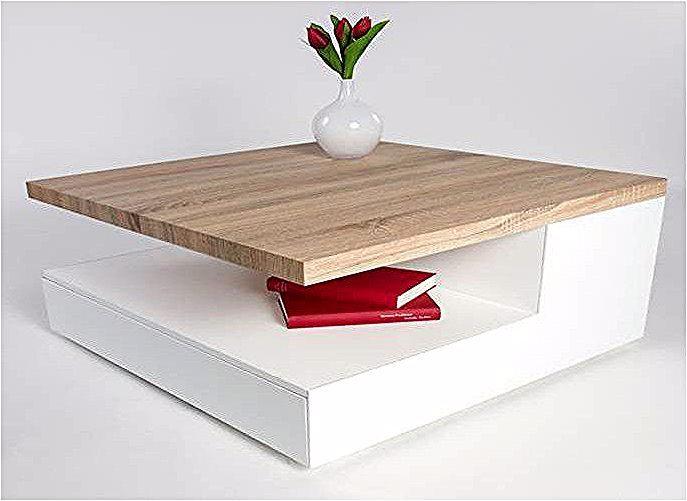 Table Basse Design En Bois Blanc Laque Chene Clair Valero In 2020