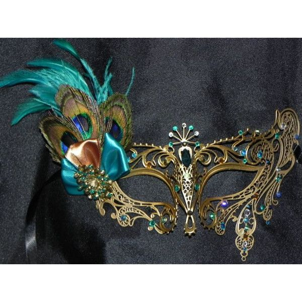 Peacock Metal Masquerade Mask with Teal and Bronze Accents (£42) ❤ liked on Polyvore featuring costumes, party halloween costumes, peacock costume, peacock halloween costume, masquerade halloween costume and party costumes