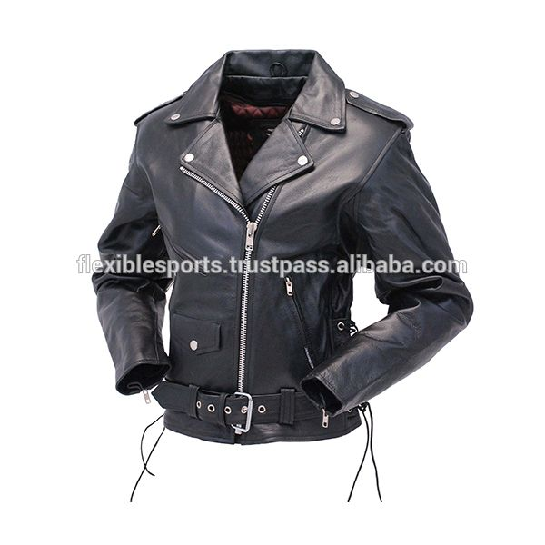 Motorbike Leather Jacket Ladies High Quality CE Approved Armour Riding Features