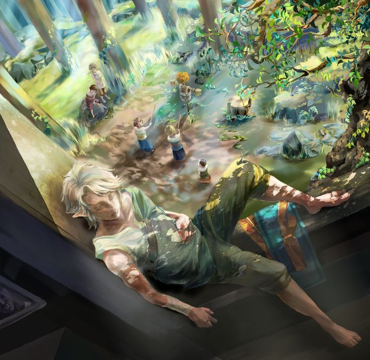 Link tree house rest | #Zelda #Twilight Princess. How cool is it that he lives in a gigantic treehouse?