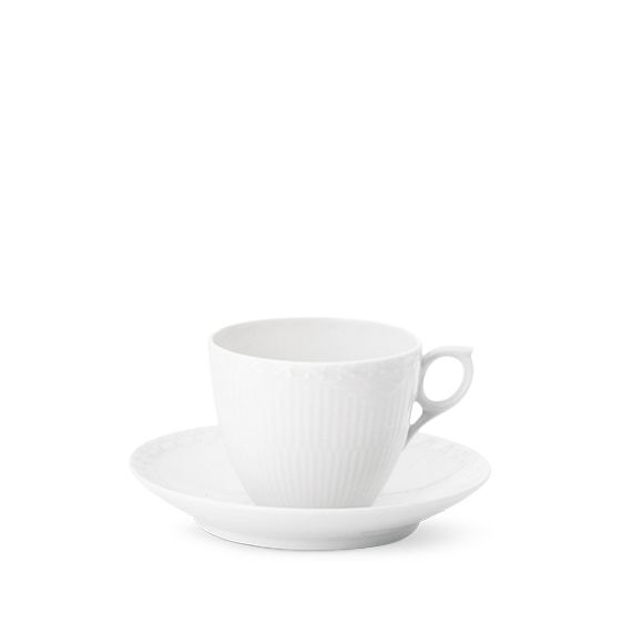 Royal Copenhagen White Fluted Half Lace Cup & Saucer 17 cl, Coffee