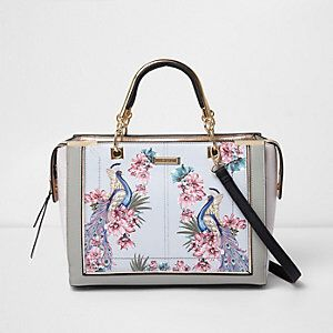 Floral Print Panelled Tote Bag from River Island R960,00