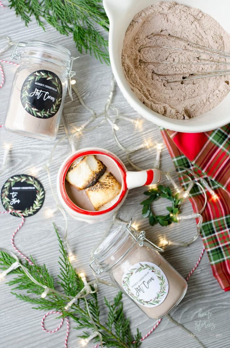 Hot Cocoa Mix Recipe Jar Gift with Free Christmas Printable - Home Stories A to Z