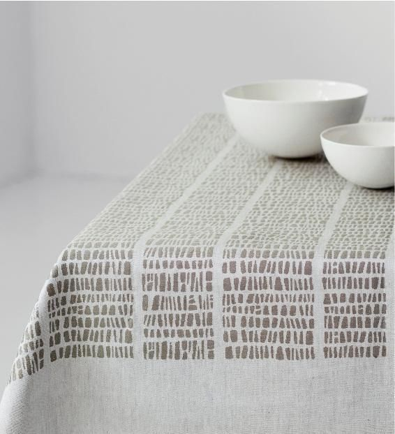 'Kaarna' (1964) by Finnish textile and industrial designer Dora Jung (1906-1980). White linen tablecloth. via Olson Design