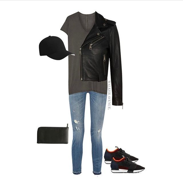 #THROWBACK #OUTFIT of the day (in my mind anyway) spent a few minutes ... okay hours on @netaporter last night and made myself an outfit. Featuring @rickowens t-shirt, @victoriabeckham leather biker jacket, @r13denim distressed jeans, @balenciaga race run