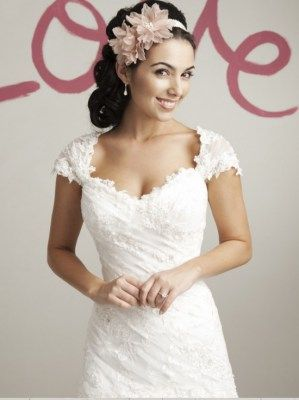 Dropped waist wedding dresses with lace bodice and tulle skirt, Sweetheart -5972
