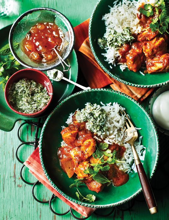 Chicken rogan josh with mint and coriander relish - An easy midweek curry on the table in under 40 minutes.