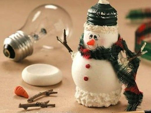 From burned-out lightbulb to snowman decor!