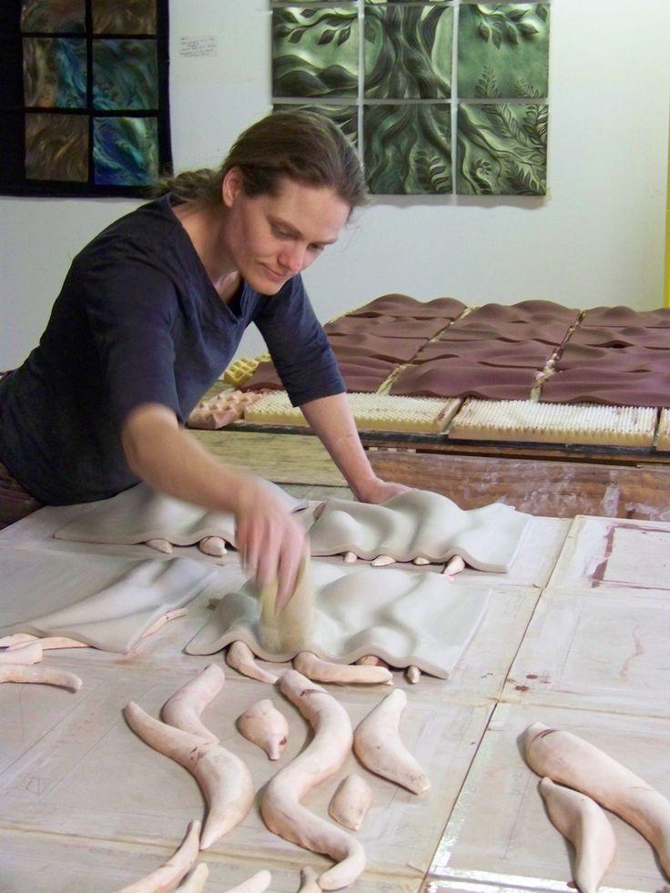 making tiles at Natalie Blake Studios