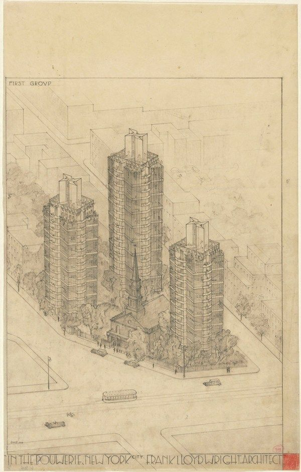 Frank Lloyd Wright (American, 18671959). St. Marks-in-the-Bouwerie Towers, New York. 192731. Aerial perspective. Graphite and colored pencil...
