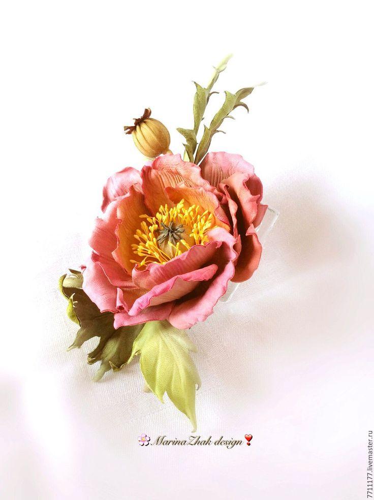 """Купить Кожаный мак - """" Акварель"""" - кожаный мак, кожаный цветок, нежный цветок"""
