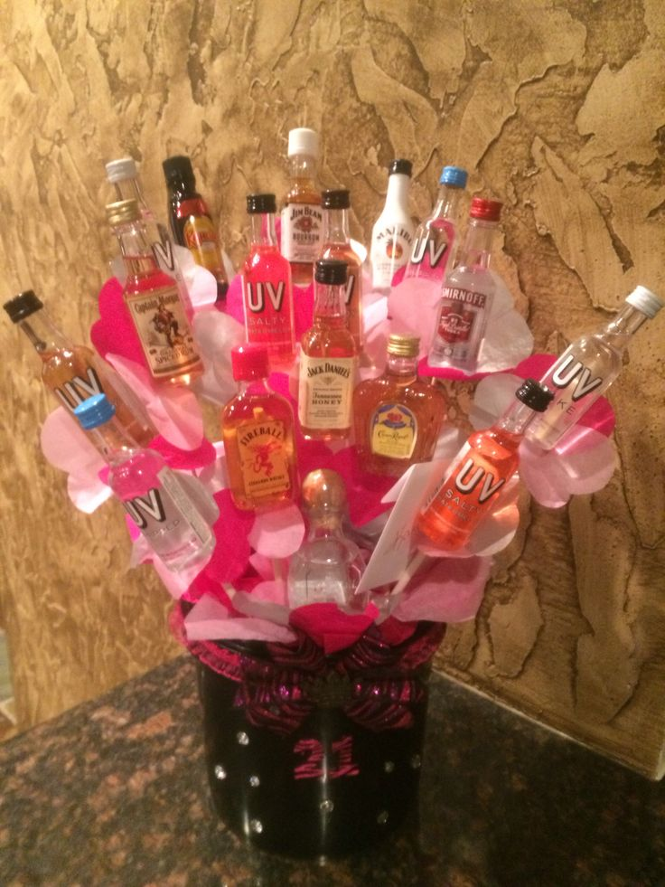 21st birthday idea / 21st birthday gift. Liquor Bouquet .. I made for a special girl on her 21st birthday!
