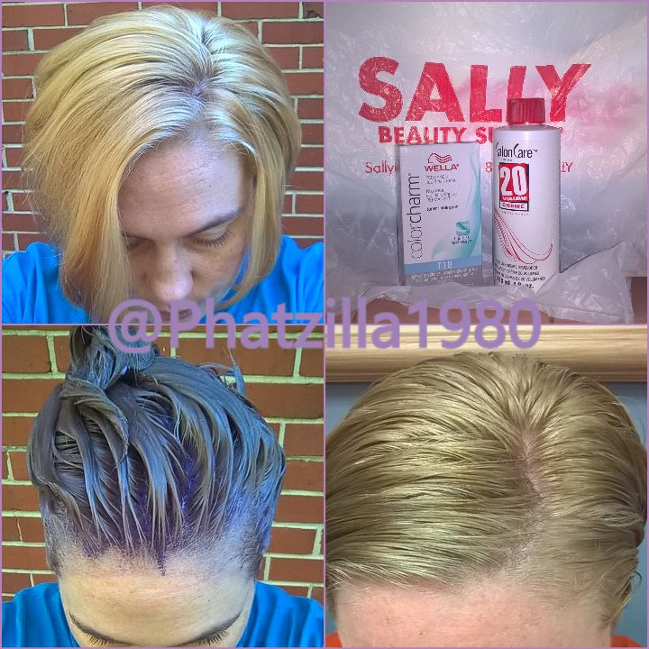 Wella t18 white lady toner, did exactly what it was supposed to with the added bonus of toning out my roots bhahahaha when its dry its a silvery blond color perfect for my final color(probably purple or aquamarine)