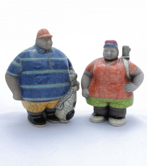 Mr. & Mrs. Golfer Figurines - Potbelly Handmade Ceramic Figurines. Buy them from Wave2Africa - an online gift and decor boutique.