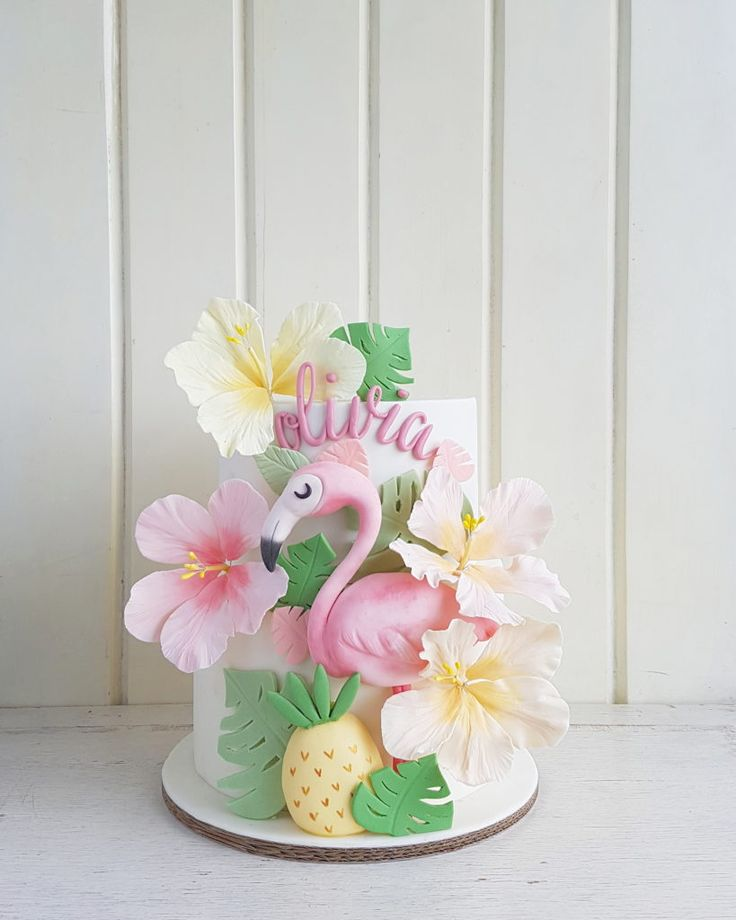 Flamingo tropical cake