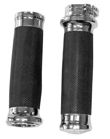 "Biker's Choice - Chrome Tornado Grips - fits Harley Davidson with Dual Cable 1"""" Handlebars"