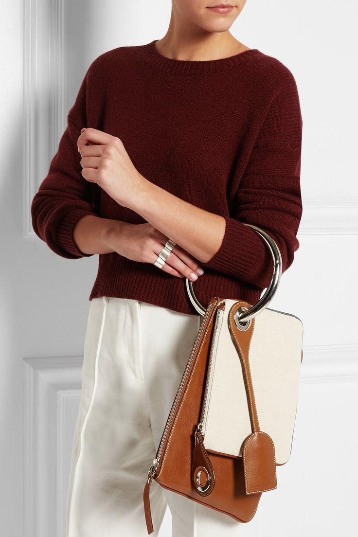 Maison Martin Margiela | Leather and canvas shoulder bag | NET-A-PORTER.COM