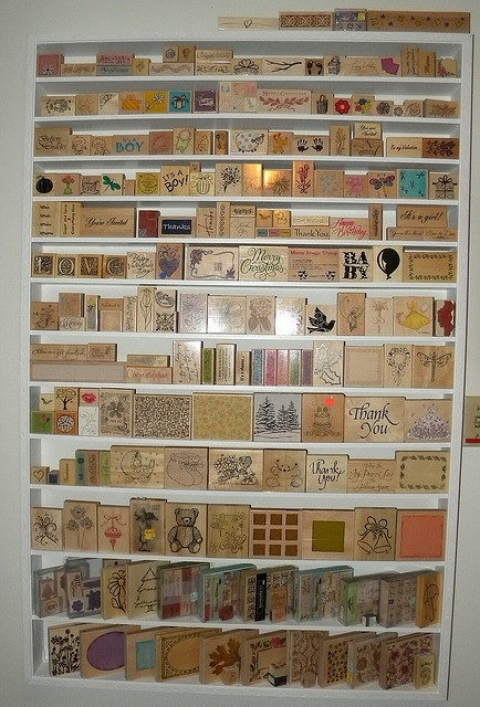Rubber stamp storage.