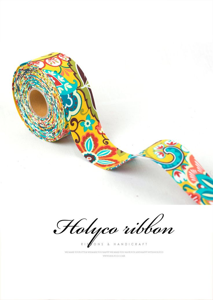 Vivid Flower Patterns Folding Fabric Ribbon / 2''(50mm) / made in korea by HOLYCO on Etsy