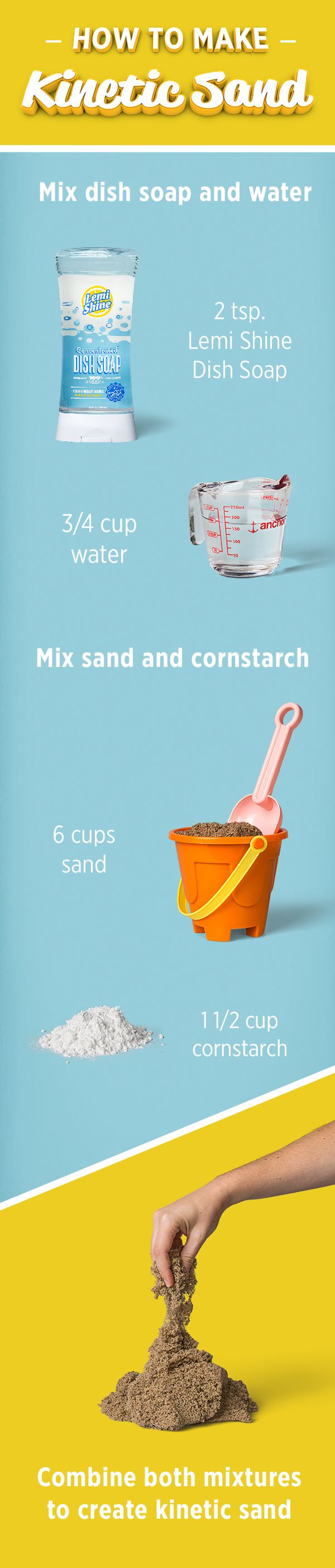 Can't make it to the beach or just don't want to deal with sandy cleanup? Try kinetic sand. It'll keep the kids entertained and your home mess-free.