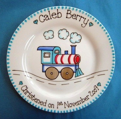 Personalised train christening plate for a new baby boy