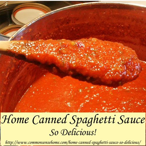 Home Canned Spaghetti Sauce - So Delicious! This round of canning yielded eight pints of spaghetti sauce, 14 pints of salsa, three pints of stewed tomatoes and 5 pints of tomato juice. (I drained some juice off the tomatoes before making them into salsa and sauce by putting them in a strainer after they were cut into pieces.)