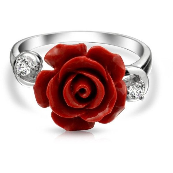 Bling Jewelry Ring Around A Rose ($21) ❤ liked on Polyvore featuring jewelry, rings, flower ring, red jewelry, christmas jewelry, flower jewelry and red ring