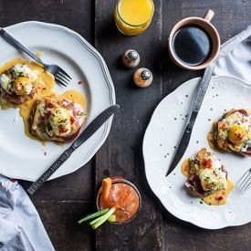 Fried Green Tomato Benedict with Smithfield Ham; Pimiento Cheese Hollandaise