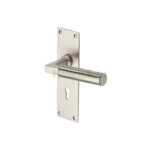 Heritage Brass Door Handle Lever Lock Bauhaus Design Satin Nickel finish