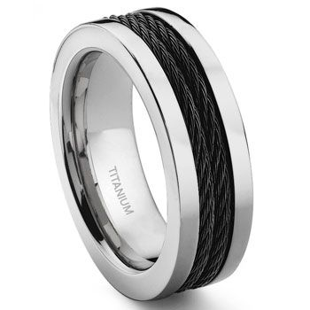 Black & silver titanium wedding band for men with carbon fiber cable inlay