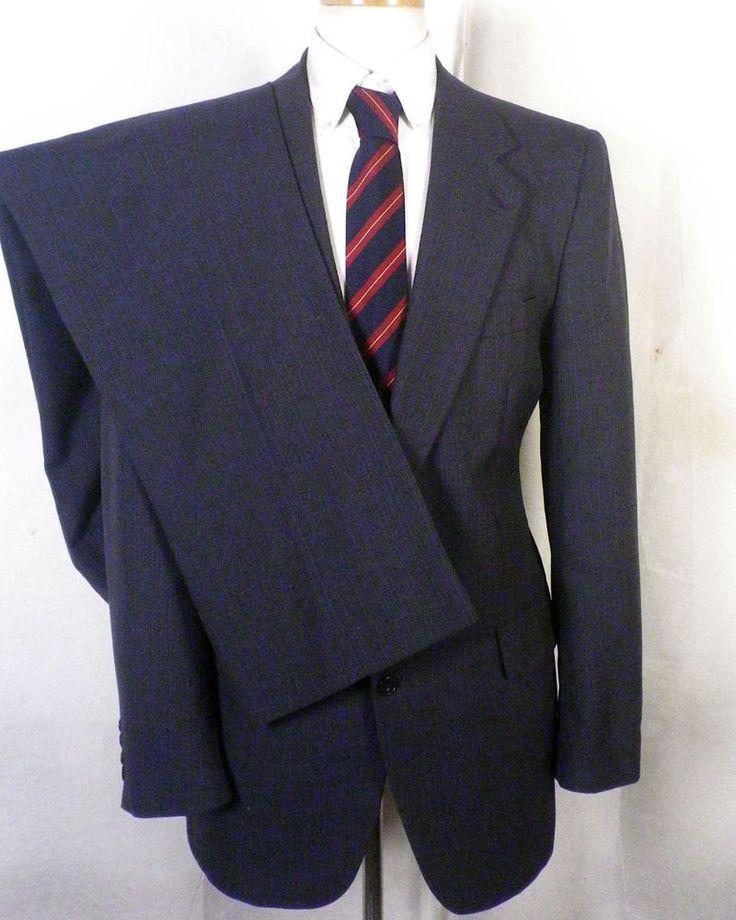 euc Kuppenheimer blueish gray Pinstripe 100% Wool 2 Pc Business Suit men's 39 L #Kuppenheimer #TwoButton
