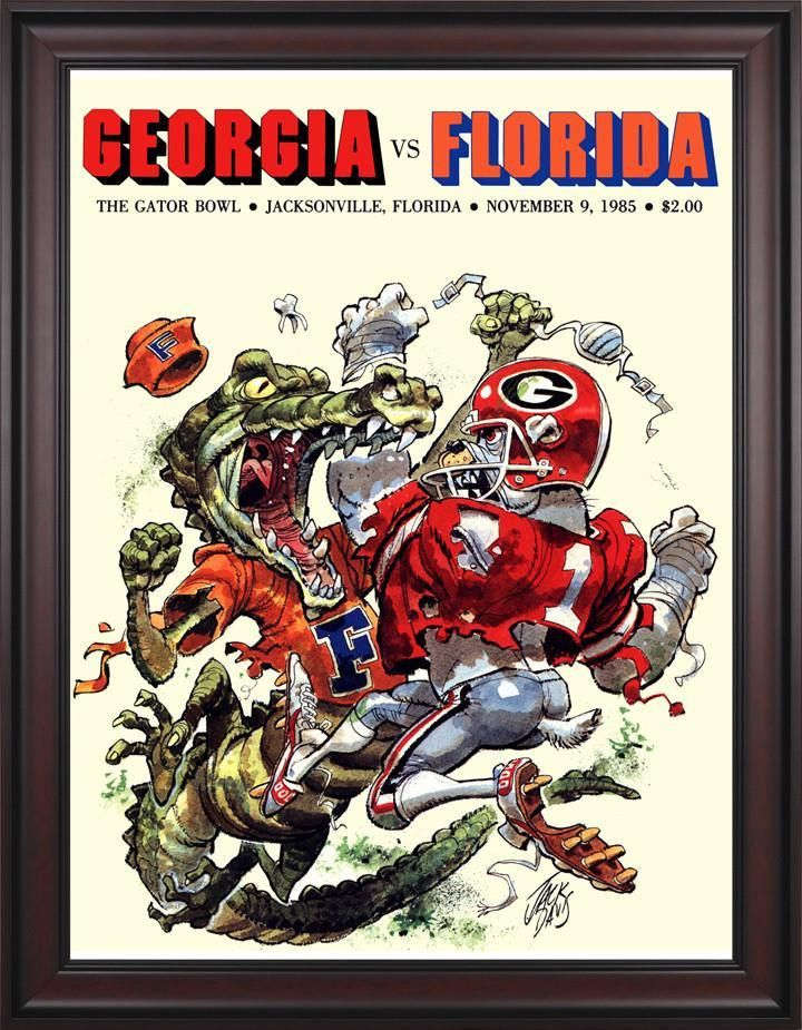 1985 Florida Gators vs Georgia Bulldogs Gator Bowl 30 x 40 Framed Canvas Historic Football Poster