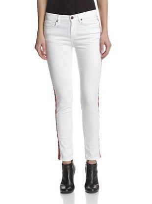80% OFF Rockstar Women's Faux Leather Stripe Jean (Off White/Red)