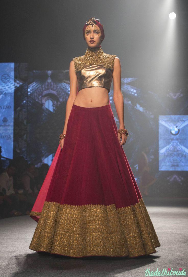 Gorgeous deep red lehenga with big antique gold border | Shantanu & Nikhil | thedelhibride.com