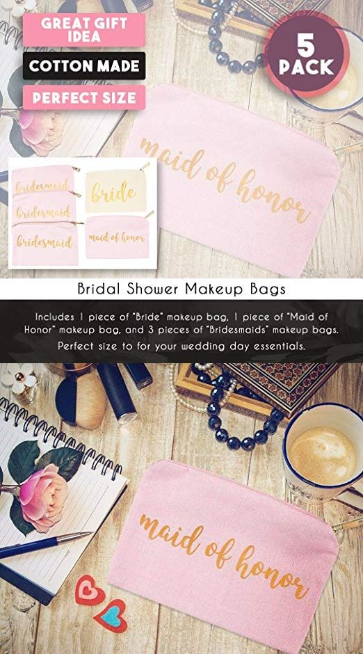 8793c05dea Bridal Shower Makeup Bag - 5-Pack Cosmetic Pouches for Wedding ...