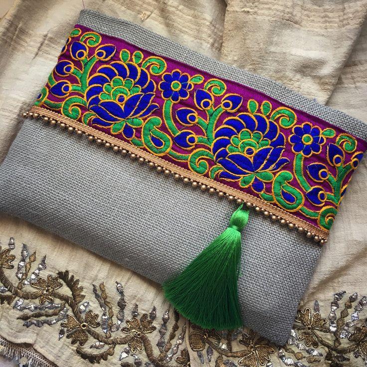 Embrague de Bohemia boho bolso bolso étnico verde salvia