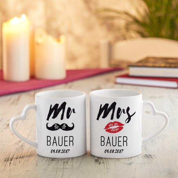 Unsere schicken Tassen mit Gravur zur Hochzeit - Herz Henkel - Mr & Mr - Becher bedrucken zur Hochzeit, mit individuellem Namen!