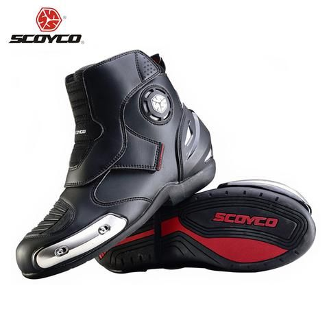 SCOYCO Microfiber Leather Motorcross Off-Road Racing Ankle Boots Motorcycle Riding Boots Street Riding Shoes Protective Gear - athleticoutdoors