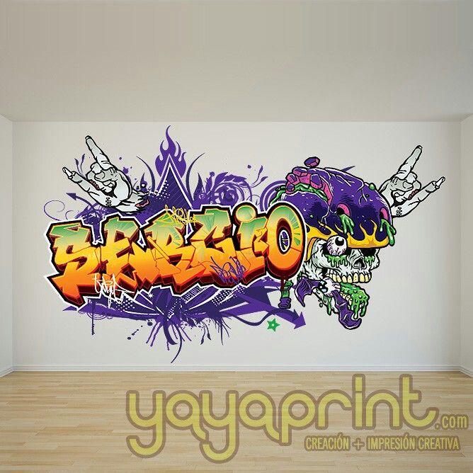 17 best images about graffiti de nombre en vinilo adhesivo - Habitaciones con graffitis ...