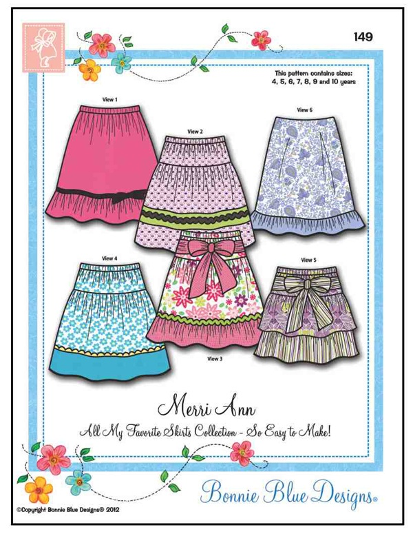 Endless possibilities for sweet little spring skirts with this Bonnie Blue Pattern #149, Merri Ann Skirts (1-7-13)