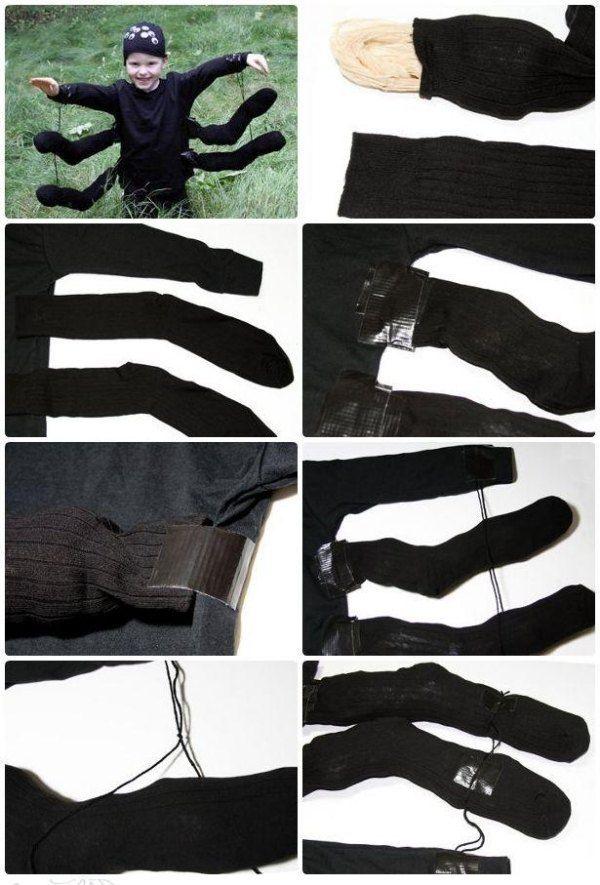 faschingskostüm schwarze spinne acht beine selber machen