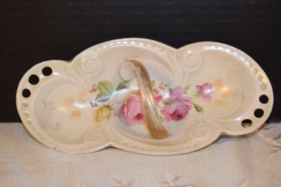 German Porcelain Oval Platter with Handle by ShellysSelectSalvage