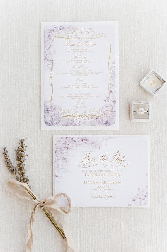 Elegant Wedding Invitation with Watercolor Lavender 103