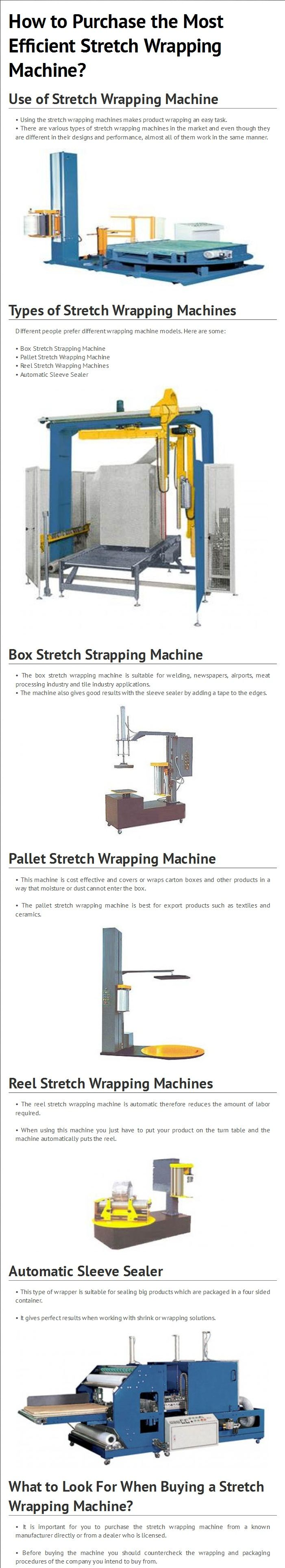 Utilizing the stretch wrapping machine makes product wrapping an easy job. Different types of stretch wrapping machine include Box Stretch Strapping Machine, Pallet Stretch Wrapping Machine, Reel Stretch Wrapping Machines, and Automatic Sleeve Sealer.  To know more about Stretch Wrapping Machine, kindly visit - http://www.multipackmachinery.com/stretch-wrapping-machine