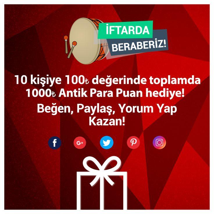 İFTARDA BERABERİZ! Ramazan ayına özel çekiliş kampanyası başladı. 12.06.2017 tarihine kadar Antik Kuruyemiş sosyal medya hesaplarını takip et, gönderileri beğen, paylaş, yorum yap 100 TL Antik Para Puan kazanan 10 talihliden biri olma fırsatını yakala!  http://www.antikkuruyemis.com  #hediye #HediyeÇeki #Ramazan #İftardaBeraberiz #Çekiliş