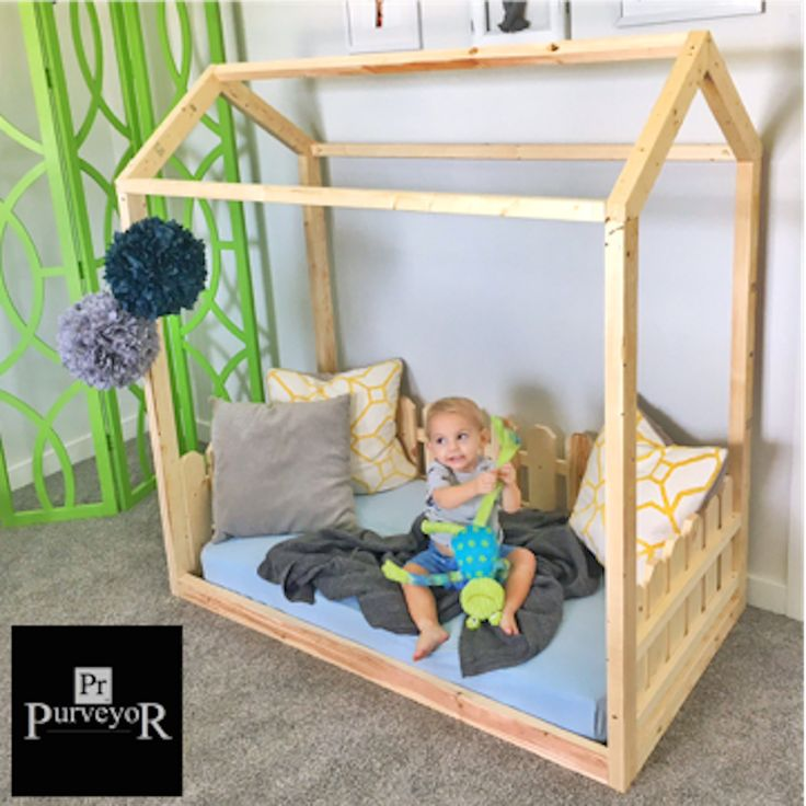 """What a great functional piece for your little one! Let you child sleep in his or her own """"house"""", fitted with a traditional picket fence! Fits a crib mattress perfectly and stands about 5' tall. Includes slats for the mattress to sit on and a chimney on the peak! Comes unfinished so you can paint it to match your own decor. This frame is sturdy, put together with high quality screws. Comes with all hardware and very easy to follow instructions."""