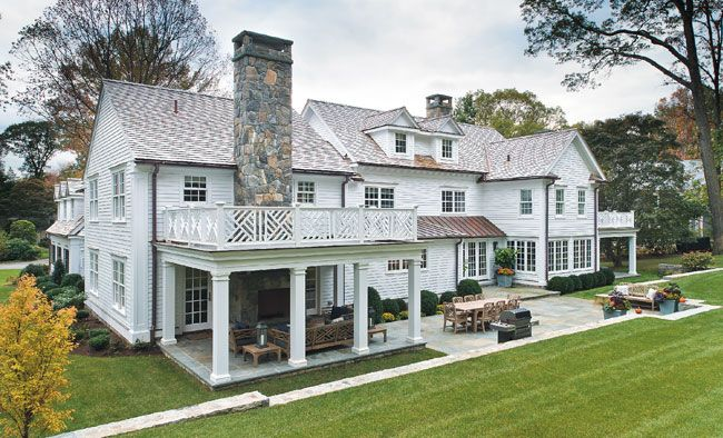 House exterior design like 2nd story deck above covered - Connecticut cottages and gardens ...