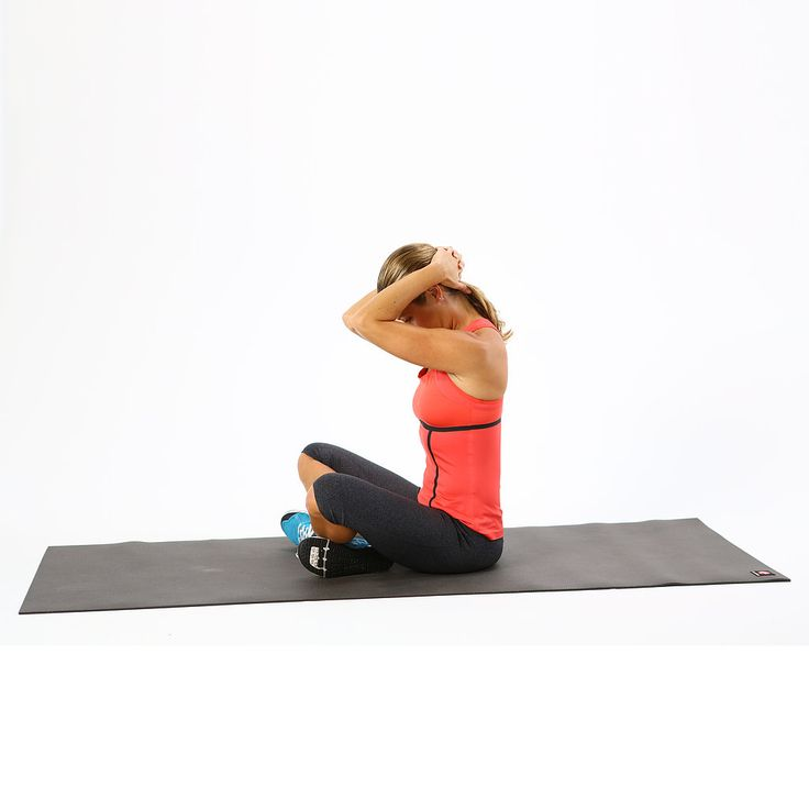 Use your hands to offer a deep stretch for the back of your neck and your upper back.   Sit comfortably in a chair or on the floor. Clasp your hands and bring both palms to the back of your head. Sitting with a tall spine, ground your hips firmly into