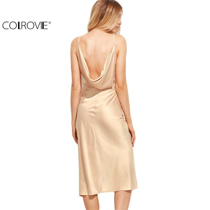 COLROVIE Womens Sexy Dresses Party Night Club Dress Pink Ruched Wrap Sleeveless Plunge Asymmetrical Midi Cami Dress
