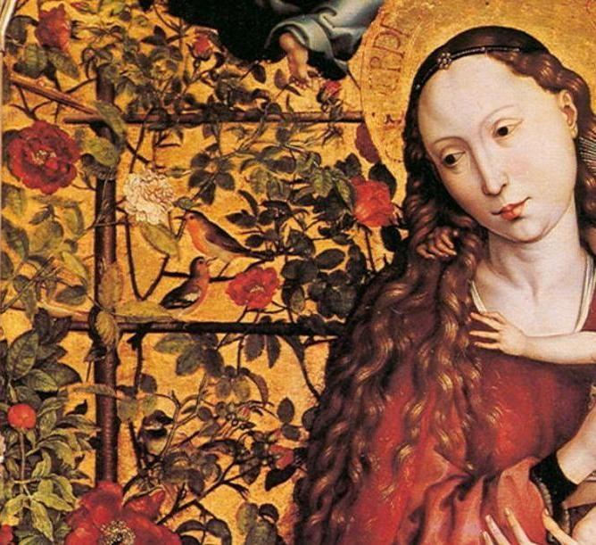 «Розовый сад» и «луг цветов» — один из мотивов средневековой живописи XV—XVI вв.; мадонна с младенцем чаще всего изображалась на фоне сада. Martin_Schongauer_Madonna_Rose_Garden.jpg (668×611)